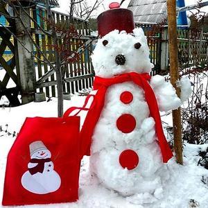 Мой красивый снеговик жить на холоде привык