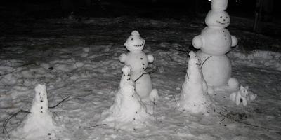 Зимние дачные забавы: лепим семью снеговиков