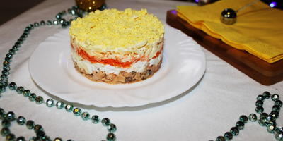 "Салат ""Мимоза"" с морковью"