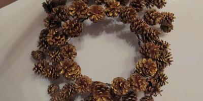 Основа для венка, зеркала, плафона, или Декор из шишек своими руками