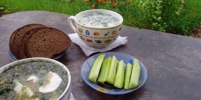 Окрошка - зеленый суп