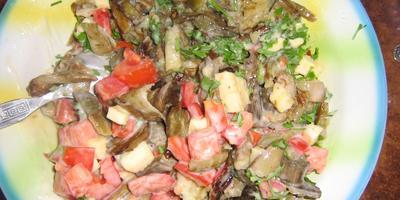 Тёплый салат из овощей.