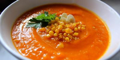 Тыквенный суп с кукурузой и сладким перцем
