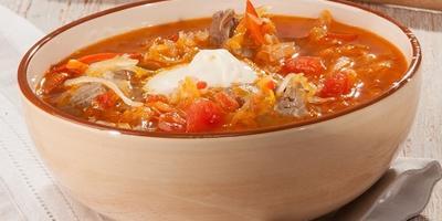 Суп по-ставропольски с помидорами и перцем