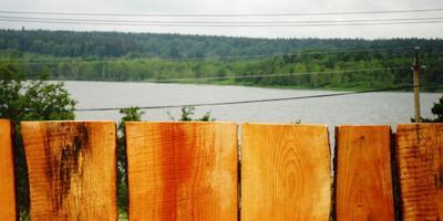 Вид с дачного участка через забор