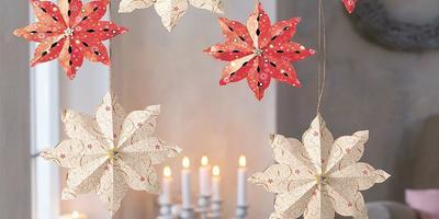 Объемные снежинки, звездочки, цветы из бумаги для новогоднего интерьера