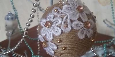 Новогодний шар *Джут и кружева*
