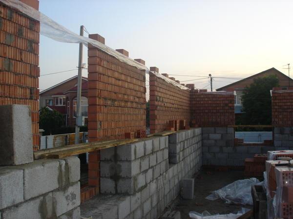Стены Блок + кирпич
