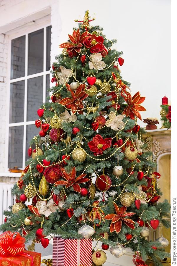 елка украшенная шарами и цветами
