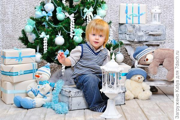 мальчик с новогодней елкой