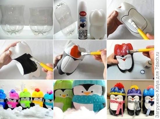 Пингвин из бутылок поделка 71