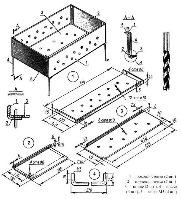 Схема металлического мангала