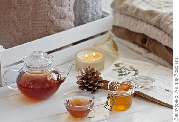 Горячий травяной чай не только согреет, но и настроение поднимет