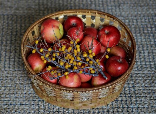 Яблоки моченые с облепиховым соком
