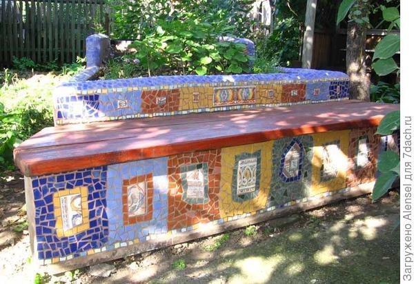 Скамейка с мозаикой своими руками