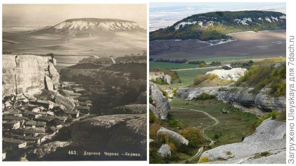 Деревня Черкес Кермен на старинной открытке, фото сайта LiveInternet и современный вид