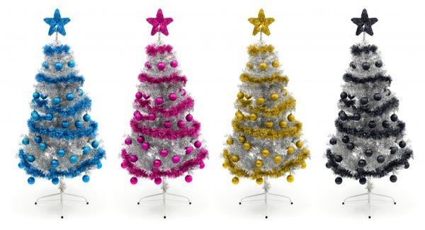 Цветные елки с игрушками