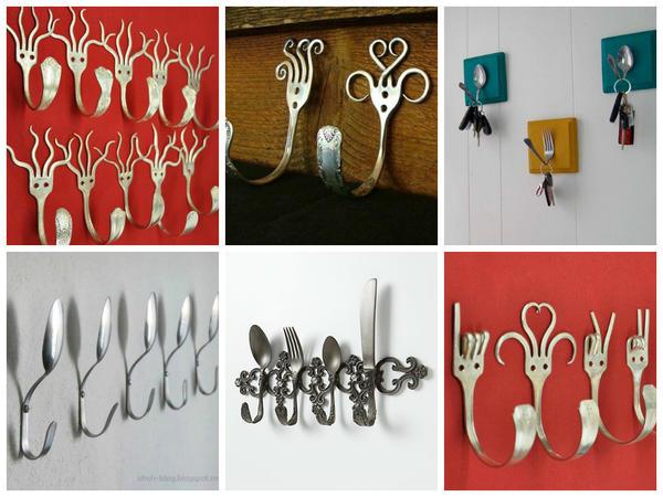 Крючки из старых столовых приборов