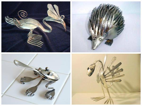 Забавные зверушки из столовых приборов