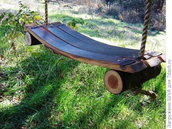деревянные подвесные качели