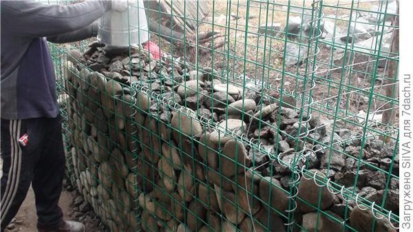 заполнение габиона камнями