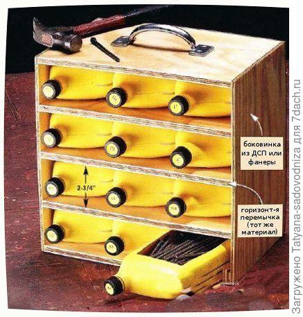 ящики для инструментов из пластиковых бутылок, фото с сайта secretdachi.ru