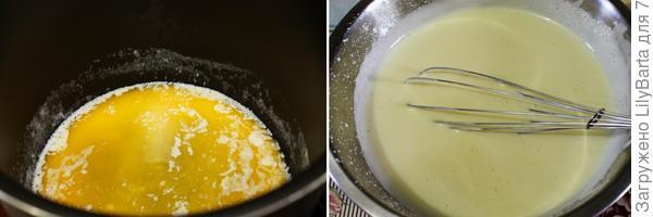 вливаем растопленное масло в пирог