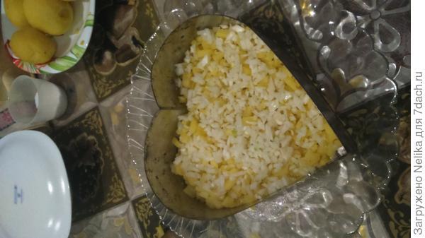 1 слой - картофель, сбрызнутый маслом и посыпанный мелко нарезанным луком