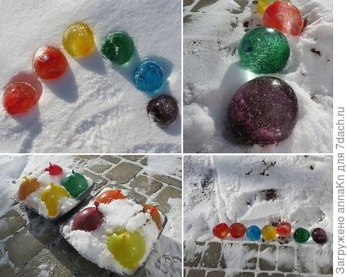 Цветные шары изо льда