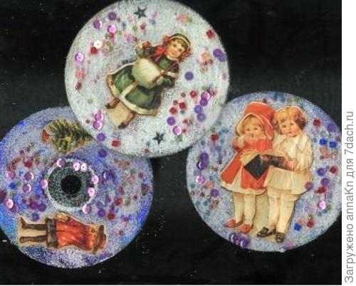 Елочные игрушки из старых дисков своими руками