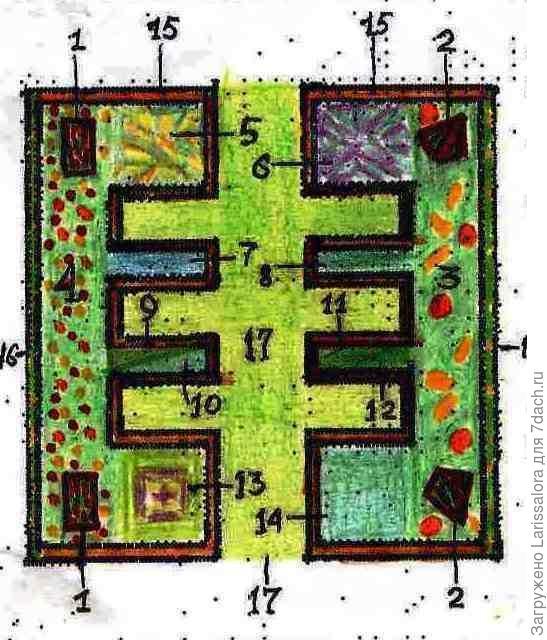 Квадратный огород со вставкой из газона