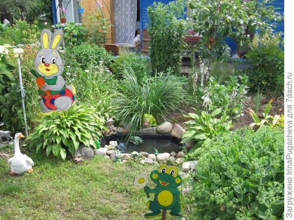 5. Заяц и лягушка на фоне водоема.