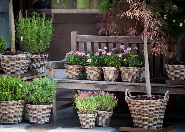 Контейнер для цветов можно сложить из брёвен или из бруса, сделать из корзины, окрашенной яркими красками