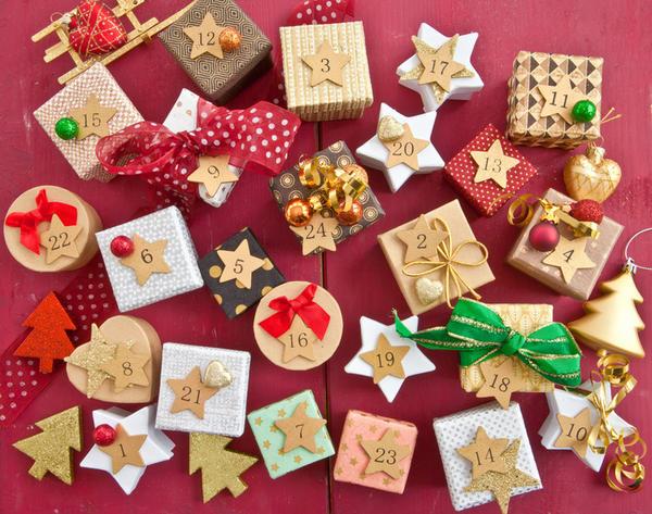 Календарь из подарочных коробочек
