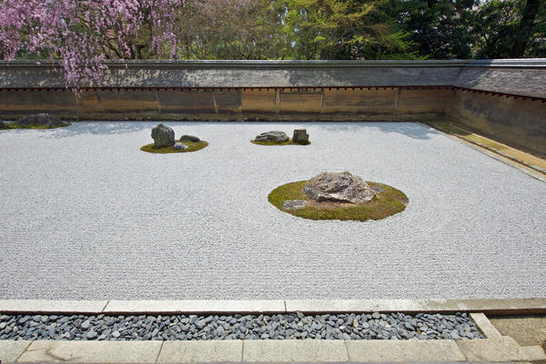 Самые известные каменные сады находятся в Киото, в монастырях Реандзи, Дайтокудзи, Дайсенин