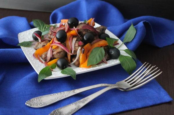 Не постный салат из тыквы и печени