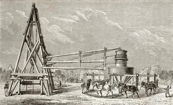 Бурение артезианской скважины. Франция. Репродукция старинной гравюры