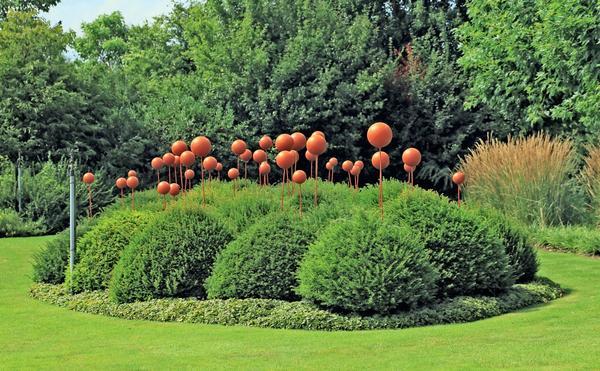 Оранжевые шары над кронами можжевельника