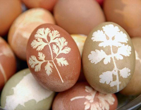 Пасхальные яйца можно украсить различными узорами с помощью листочков растений