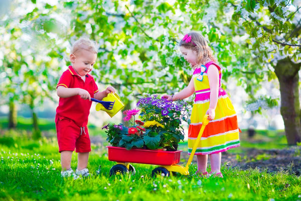 В дачном хозяйстве не помешают игрушки, имитирующие садовые принадлежности.