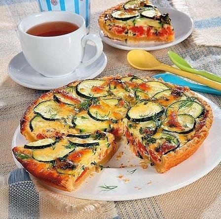 Пирог с цукини, томатами и сыром