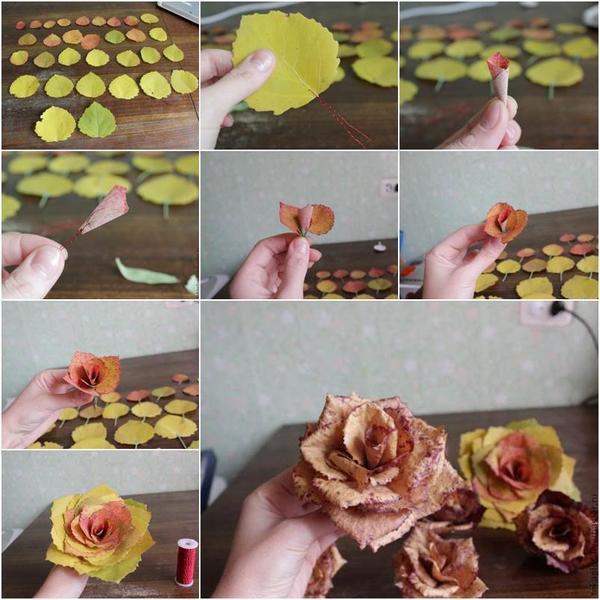 Можно использовать не только кленовые листья. Фото: http://www.icreativeideas.com