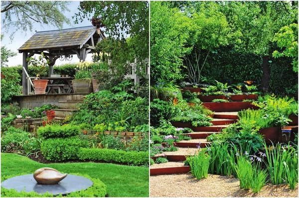 Слева: Зонирование участка можно проводить по уже существующим плоскостям и склонам. Тогда этот процесс окажется менее затратным. Справа: Ступени, ведущие вглубь сада, прекрасно обыгрывают неровности рельефа и придают законченность пейзажу.