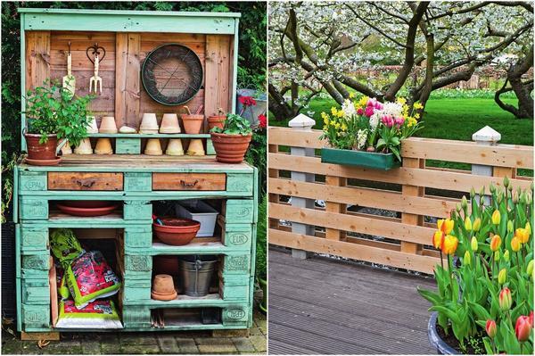 Слева: садовый столик в стиле шебби-шик. Справа: из паллет получаются довольно красивые заборы или перила.