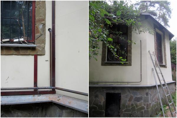 Слева: подводка газа к отопительному котлу. Справа: подводка газа к бытовой кухонной плите.