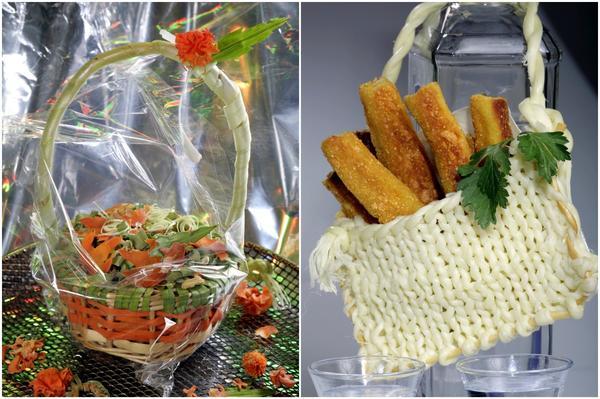 Корзиночка с фигурным суповым набором и вязаная сумочка с домашним картофельным печеньем.