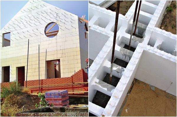 Слева: Дому из бетона требуется внутренняя и наружная отделка. Справа: Несъемная опалубка из полистирола позволяет экономить и материалы, и труд рабочих.