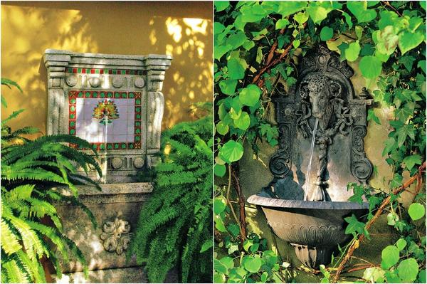 Слева: В испанских винодельческих усадьбах часто можно увидеть такие декоративные пристенные фонтаны, украшенные яркими изразцами. Слева: Этот пристенный фонтан из чугуна со встроенной системой циркуляции воды создан в венском стиле.