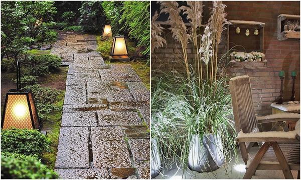 Слева: Для подсветки дорожек обычно выбирают невысокие светильники, которые устанавливают по ходу движения. Справа: Максимальную яркость нужно оставить для световых акцентов.