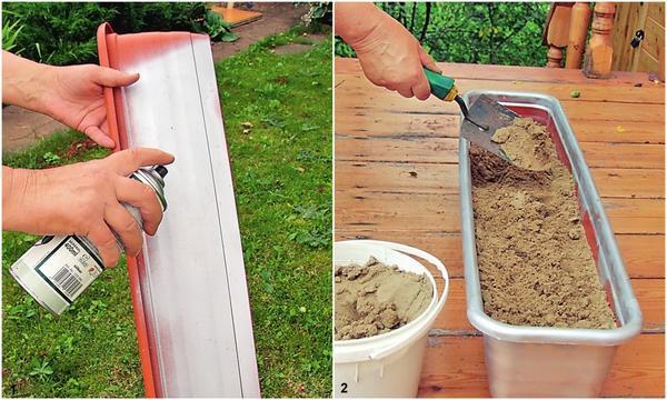 1. Окрасьте ящик для цветов серебристой аэрозольной краской. 2. Наполните ящик песком.